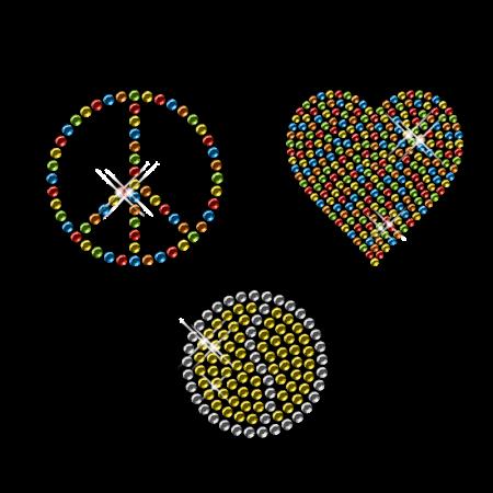 Shining Colorful Rhinestone Transfer Iron ons Peace Love Motif For Shirts