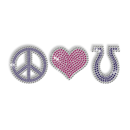 Shining Rhinestone Transfer Iron ons Pink and Purple Peace Love Motif For Clothes