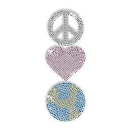 Shining Rhinestone Transfer Iron ons Peace Love and Basketball Motif For Shirts