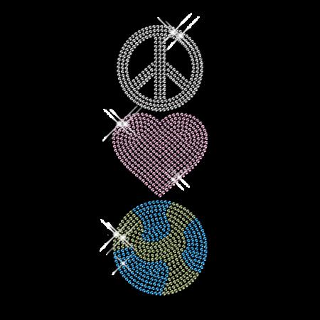 Shining Rhinestone Transfer Iron ons Peace Love and Basketball Motif For Shirts