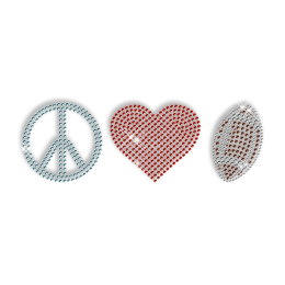 Shining Rhinestone Soccer Peace Love Iron on Transfer for Clothes