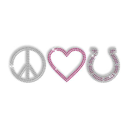 Sparkling Rhinestone Iron on Peace Love Motif for Clothes