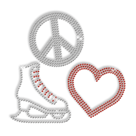 Sparkle Rhinestone Pure Crystal Peace Love Skating Shoes Iron on Transfer Motif for Clothes