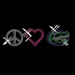 Shining Rhinestone Iron on Peace Love Crocodile Motif for Clothes