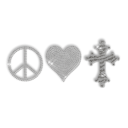 Best Custom Shinning Peace Love Cross in Crystal and Black Rhinestone Iron on Transfer Design