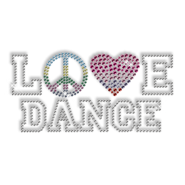 Best Custom Shinning Peace Love Dance Diamante Iron on Transfer Design
