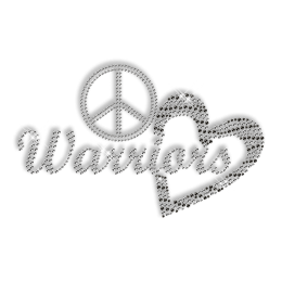 Custom Shinning Peace Love Warriors in Crystal and Black Diamante Hotfix Transfer Design