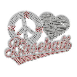 Custom Sparkle Peace Love Baseball Rhinestone Iron on Transfer Design