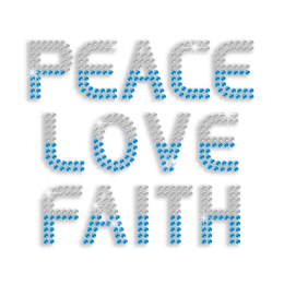 Pretty Peace Love Faith Sequin Iron-on Transfer Design