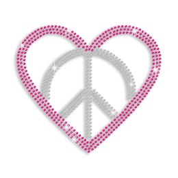 Pink Peace Love Heart Iron-on Rhinestone Transfer