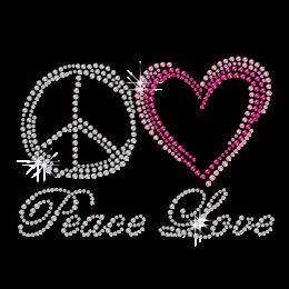 Bling Peace Love Rhinestud Iron-on Transfer