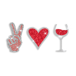 Customizable I Love Wine Iron on Glitter Rhinestone Transfer