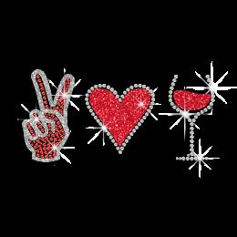 Customizable I Love Wine Iron on Glitter Rhinestone Transfer