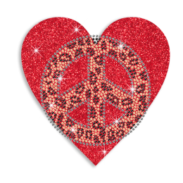 Bling Heart & Peace Sign Iron-on Glitter Rhinestone Transfer