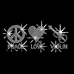 Crystal Peace Love Violin Iron-on Rhinestone Transfer