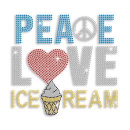 Colorful Peace Love Ice Cream Iron on Rhinestone Transfer