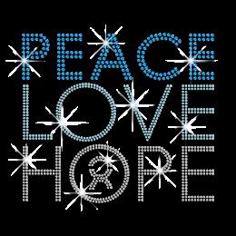 Bling Peace Love Hope Iron-on Rhinestone Transfer