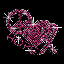 Pinky Peace Love Hope Iron-on Rhinestone Transfer