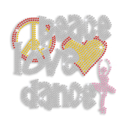 Colorful Peace Love Dance Iron-on Rhinestone Transfer