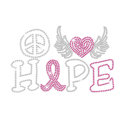 Love Heart & Peace Sign Iron-on Rhinestone Transfer
