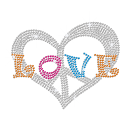Crystal Bling Peace Love Iron-on Rhinestone Transfer