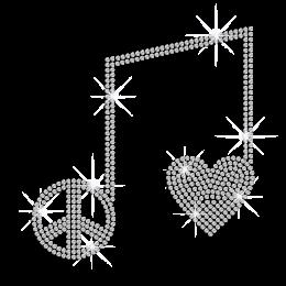 Crystal Love Peace Iron on Rhinestone Transfer
