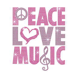 Pink Peace Love Music Iron on Rhinestone Transfer