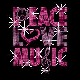 Pink Peace Love Music Iron on Rhinestone Transfer
