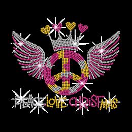 Peace Love Chrismas Iron on Rhinestone Transfer