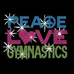 Peace Love Gymnastics Lead Free Rhinestone Custom Applique