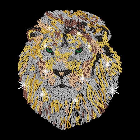 Bling Lion Head Nailhead Iron on Motif