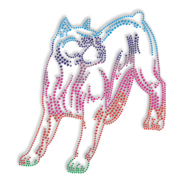 Colorful Dog Image Hotfix Rhinestone Pattern