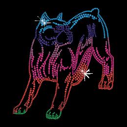 Colorful Dog Image Hotfix Rhinestone Pattern