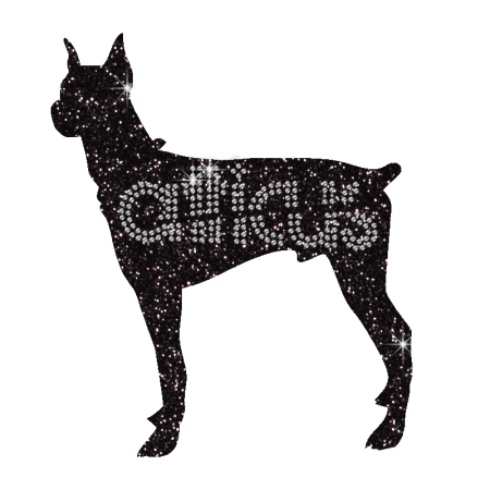 Twinkling Black Dog with Aticus Iron on Strass Transfer