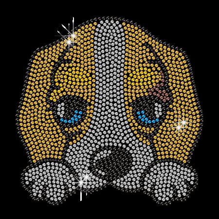 Cute Poor Doggie Rhinestone Iron Motif for Clothes
