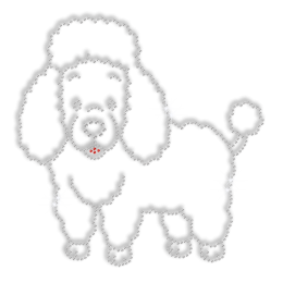 Twinkling Lovely Poodle Iron Strass Transfer