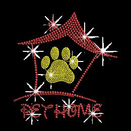 Cute Paw & Pet Home Iron-on Rhinestone Transfer