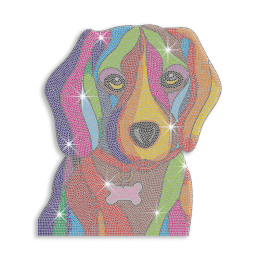 Vegas Show Colorful Cute Dog Neon Stud Iron on Transfer