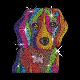 Vegas Show Colorful Cute Dog Neon Stud Iron on Transfer