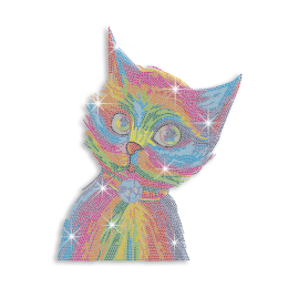 Vegas Show Colorful Cat Neon Rhinestud Iron-on Transfer