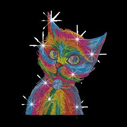 Vegas Show Colorful Cat Neon Rhinestud Iron-on Transfer