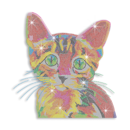 Vegas Show Colorful Cute Cat Iron-on Rhinestone Transfer