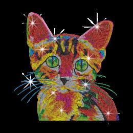 Vegas Show Colorful Cute Cat Iron-on Rhinestone Transfer