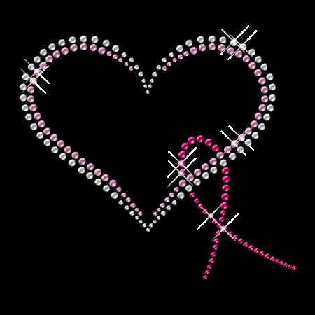 Nailhead Heart and Ribbon Iron on Transfer
