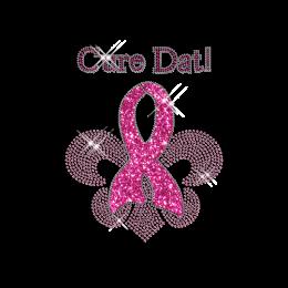 Custom Shinning Cure Dat Pink Ribbon and Fleur De Lis Diamante Hotfix Transfer Pattern