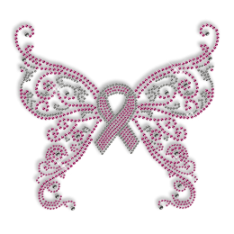 Custom Cheap Pink Ribbon with Butterfly Diamante Hotfix Design