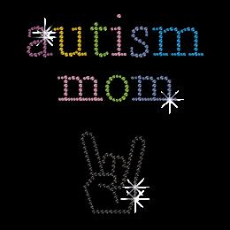Shining Autism Mom Bling Iron on Transfer Motif