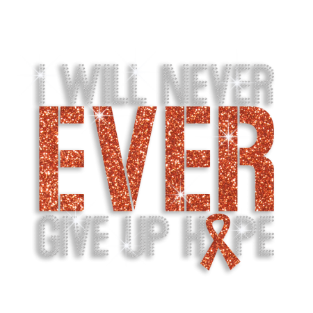 I Will Never Ever Give Up Hope Ribbon Iron Crystal Motif for Clothes