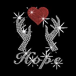 Inspiring Hope Heart Heat Press Stud Iron on Transfer