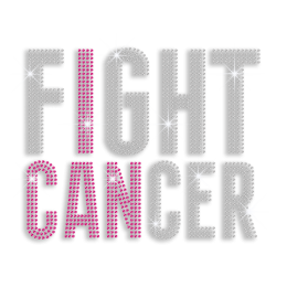 Bling Faithful Fight Cancer Hotfix Rhinestud Iron-on Transfer